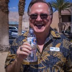 DHS Community Cultural Affairs Committee Art in Public Places ribbon cutting Russ Martin MSWD board president enjoying award winning Desert Hot Springs water