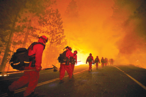 Firefighters geared up to battle the raging Rim Fire near Yosemite National Park. ~photo courtesy of csmonitor.com