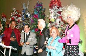 "Fred ""The Hammer"" Williamson, Patrick Evans, Jack Jones, Carol Connors and Bella da Ball caroled merrily at the ACT for MS 13th Annual Christmas Tree Lane. (Photo by Pat Krause)"