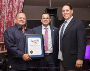 Manuel Perez Campaign Fundraiser at Hard-Rock Palm Springs Tony Sanchez Vice Chairman of Seminole Tribe of Florida holding certificate for opening of Hard-Rock Hotel with Assemblyman Perez and Jeff Grubbe Chairman of Agua Caliente