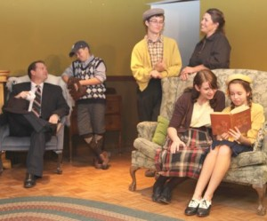 Cast from left to right (Jack) Leonard Webber, (Eugene) Trevor Carpenter, (Aunt Blanche) Shelly Sheckler, (Nora) Elizabeth Schmelling, (Laurie) Madison Tuttle and not pictured, (Kate) Director Rebecca Havely.