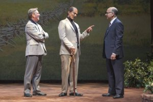 from left) Richard Thomas as Jimmy Carter, Khaled Nabawy as Anwar Sadat, and Ned Eisenberg as Menachem Begin