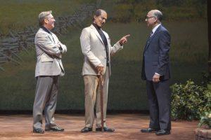 from left) Richard Thomas as Jimmy Carter, Khaled Nabawy as Anwar Sadat, and Ned Eisenberg as Menachem Begin