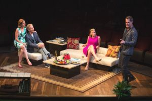 (from left) Jenna Fischer appears as Corky, Greg Germann as Norm, Alexandra Henrikson as Laura, and Josh Stamberg as Gerald-Photo by Jim Cox